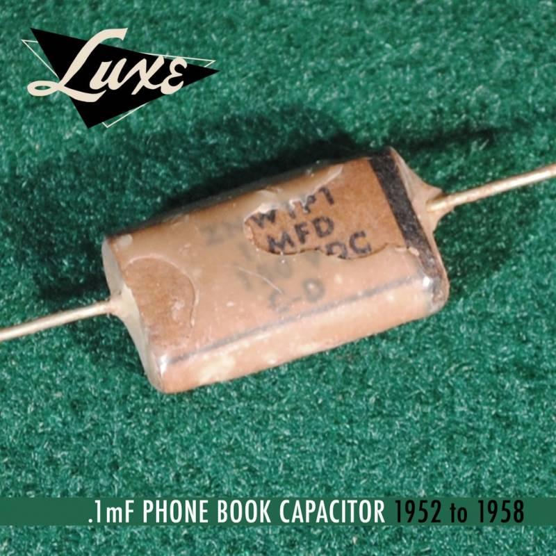 luxe radio 1952 1958 stratocaster precision bass pio capacitors 01uf 1mfd - Condensador LUXE RADIO - Phone Book Papel en aceite  0.1uF Condensador Stratocaster&PrecisionBass