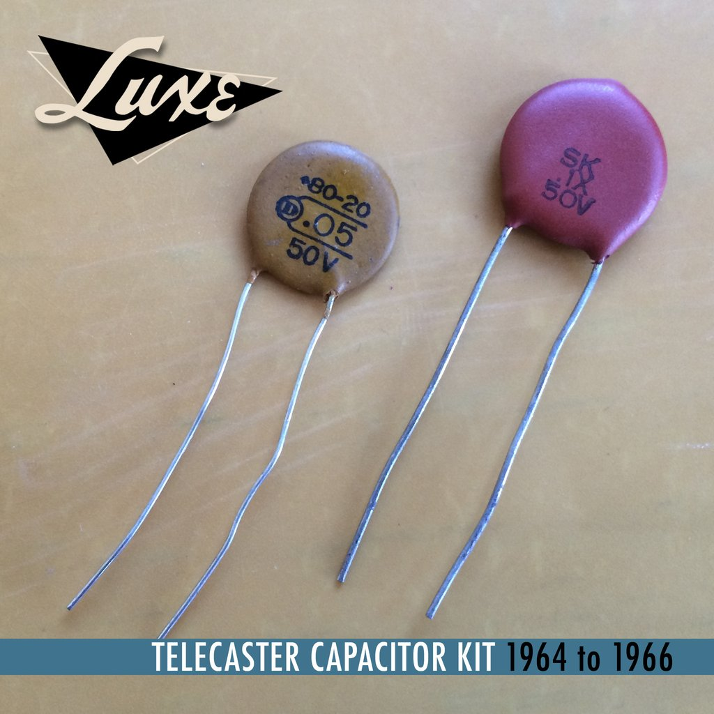 1964-1966 Telecaster Dark Circuit Schematic Kit .05mF Orange Dime Cap & .1mF Red Dime Cap