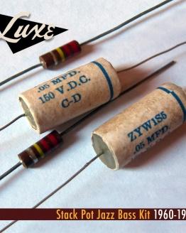 1960-1961 Stack Pot Jazz Bass: Pair Wax Impregnated Paper & Foil .05mF Capacitors/Pair 220k CC Resistors