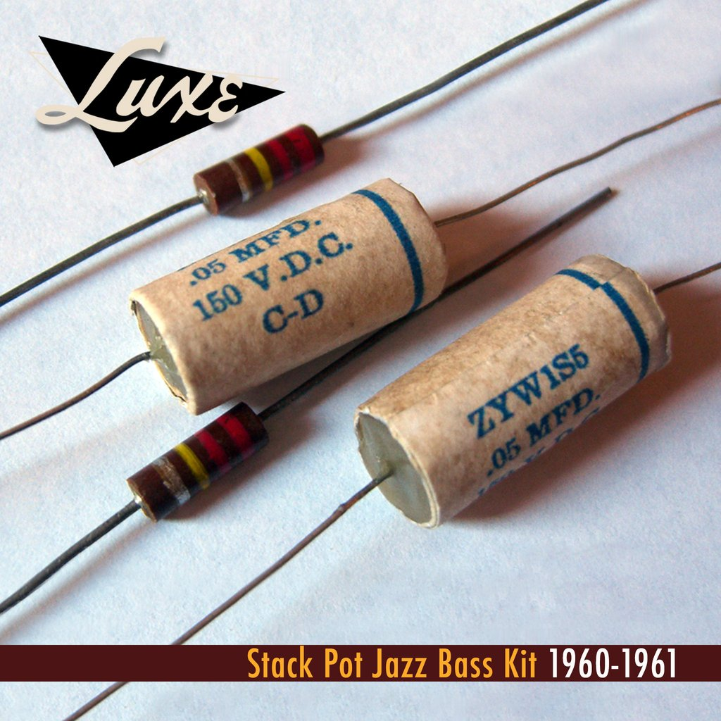 1960-1961 Stack Pot Jazz Bass: Pair Wax Impregnated Paper & Foil .05mF Capacitors/Pair 220k CC Resistors